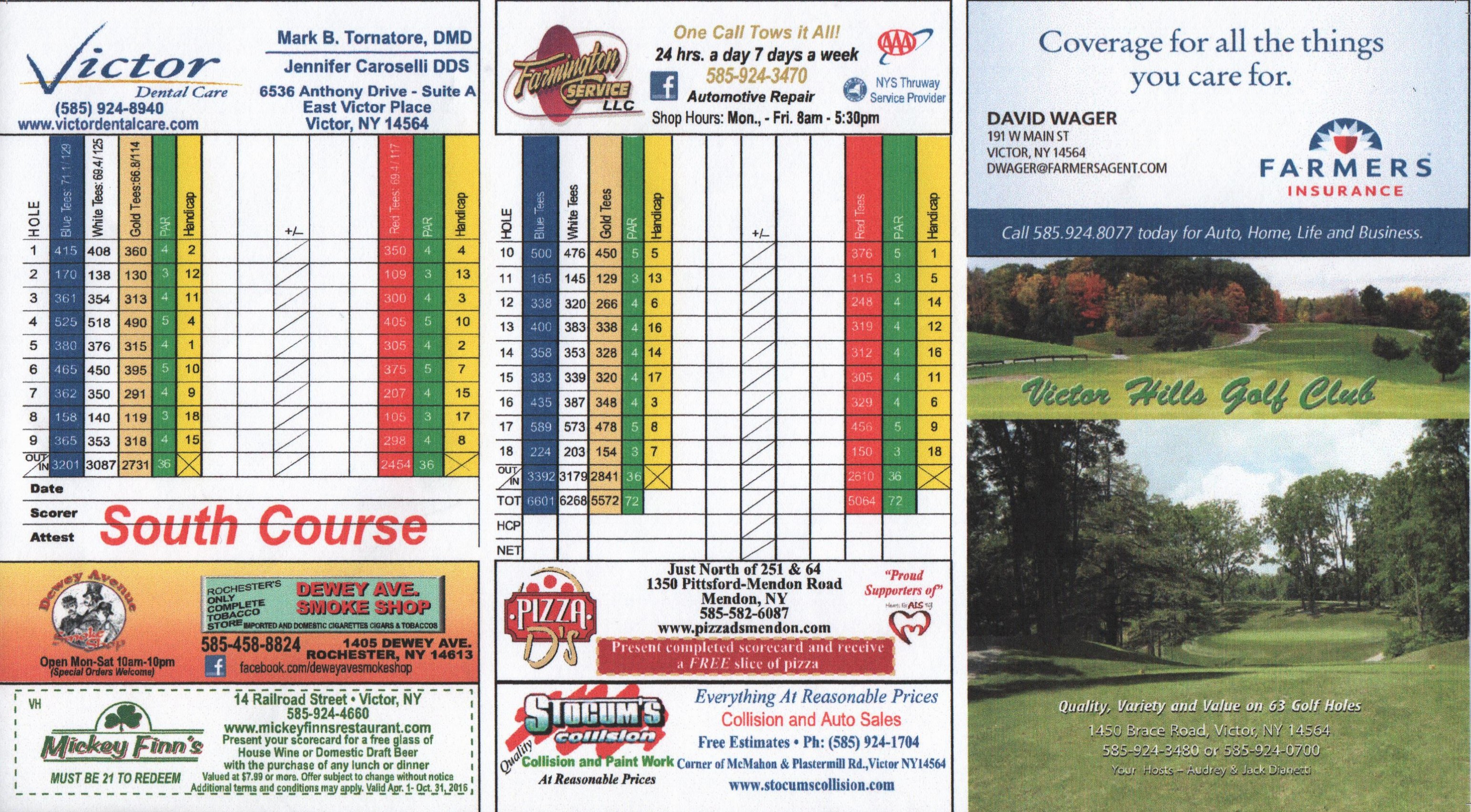 South  Course Score Card